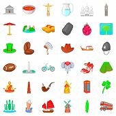 Monument Icons Set. Cartoon Style Of 36 Monument Icons For Web Isolated On White Background poster