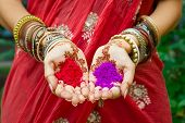 Beautiful Woman In Traditional Muslim Indian Wedding Green Sari Dress Hands With Henna Tattoo Mehndi poster