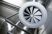 image of air conditioner  - System of ventilating pipes at a modern factory - JPG