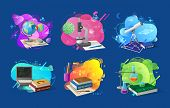 School Disciplines Vector, Set Of Banners With Mathematics And Chemistry, Coding And Biology, Astron poster