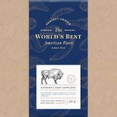 Worlds Best Bisonf Abstract Vector Craft Paper Vintage Cover Layout. Premium Meat Packaging Design L poster