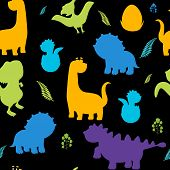 Cute Kids Dinosaurs Pattern For Girls And Boys. Colorful Dinosaurs On The Abstract Grunge Background poster