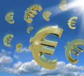 Euro Signs Falling From The Sky As A Sign Of Wealth