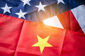 Usa Flag And China Flag With Sunlight For Tariff Trade War Between United States And China Who Confl poster