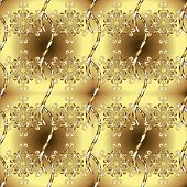Seamless Pattern On Yellow And Brown Colors With Golden Elements. Traditional Orient Ornament. Class poster