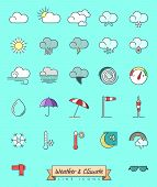 Collection Of 27 Weather, Climate And Meteorology Related Symbols, Gray Outline And Pastel Color Fil poster