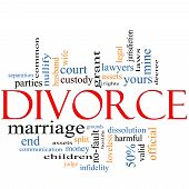 foto of split ends  - Divorce Word Cloud Concept with great terms such as loveless marriage end laws infidelity split children and more - JPG