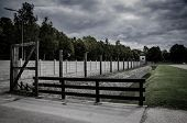 Concentration Camp Fence Silhouettes. Barbed Wire Net And Electric Fencing. Genocide, Holocaust, Wor poster