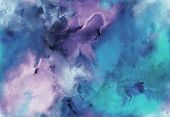 Hand Painted Watercolor Bright Seamless Pattern With Abstract Sky, Galaxy, Cosmos And Luminescence.  poster