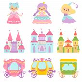 Collection Of Cute Little Princesses, Magic Castles, Fairy Tale Carriages, Fantasy Kingdoms Cartoon  poster