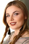 Caucasian Female Beauty Model Advertising Shooting. Fashion Headshot Concept. Woman With Heavy Eyebr poster