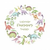 Circle Template From Cartoon Watercolor Dinosaurs. Cute Hand Drawn Funny Illustration Of Dinosaurs R poster