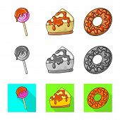 Isolated Object Of Confectionery And Culinary Icon. Collection Of Confectionery And Product Vector I poster