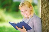Girl Interested Sit Park Read Book Nature Background. Reading Inspiring Books. Female Literature. Bo poster