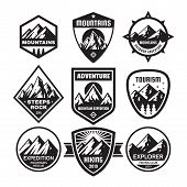 Set Of Adventure Outdoor Concept Badges, Summer Camping Emblem, Mountain Climbing Logo In Black & Wh poster