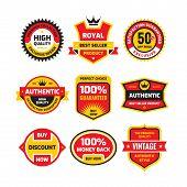 Set Retro Business Badge Vector Illustration Set In Flat Style. Vintage Premium Logo Collection. Aut poster