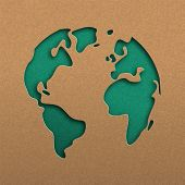 Papercut World Map Illustration. Green Cutout Earth In Recycled Paper For Planet Conservation Awaren poster