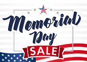 Memorial Day Sale Banner. Remember And Honor. Hand Drawn Text With Stars For Memorial Day In Usa. Ca poster