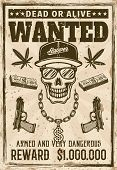 Gangsta Rapper Skull In Snapback Cap And Sunglasses With Money Bling Chain Wanted Poster In Vintage  poster