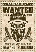 Ghetto Gangster Skull In Baseball Hat And Bandana On Face Wanted Poster In Vintage Style Vector Illu poster