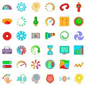 Circular Icons Set. Cartoon Style Of 36 Circular Icons For Web Isolated On White Background poster