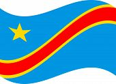 Democratic Republic Of The Congo Flag. National Current Flag, Government And Geography Emblem. Flat  poster