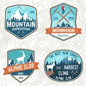 Set Of Mountain Expedition Patch. Vector. Concept For Alpine Club Shirt Or Badge, Print, Stamp Or Te poster