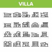Luxurious Villa, Cottage Linear Vector Icons Set. Fashionable House, Villa Thin Line Contour Symbols poster