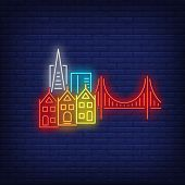 San Francisco City Buildings And Golden Gate Bridge Neon Sign. Sightseeing, Tourism, Travel Design.  poster