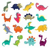 Funny Cartoon Dinosaurs Colorful Collection. Vector Illustration poster