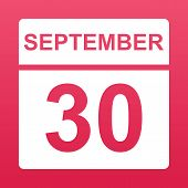 September 30. White Calendar On A  Colored Background. Day On The Calendar. Thirtieth Of September.  poster