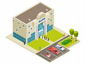 Isometric Vector Bank Location With People, Cars And Security. Illustration Of Bank Building, Bankin poster