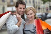 picture of urbanisation  - Couple out shopping together - JPG