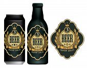 Vector Beer Label With Coat Of Arms, Wreath Of Wheat And Ribbon In Figured Frame On Black And Gold B poster