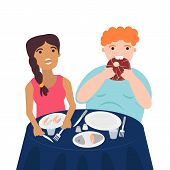 Vector Illustration Of Couple Are Eating Their Meals. Healthy Nutrition Concept Of Carnivore Diet. W poster