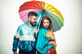 Surprised Couple On Autumn Clothes Discounts, Man With Beard And An Attractive Girl. Happy Couple In poster