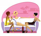 vector illustration of three women on rest