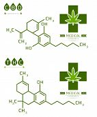 Set Of Thc And Cbd Formula. Cannabidiol And Tetrahydrocannabinol Molecule Structure Compound. Medica poster