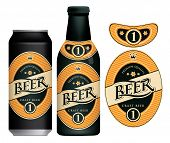 Vector Label For Craft Beer In Retro Style, Decorated By Crown And Stars In Oval Frame. Sample Beer  poster
