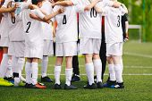 Group Of Junior Sports Player. Soccer Team Building Activities poster