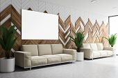 White And Wooden Lounge Area, Sofas And Poster poster