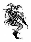 Joker playing card in retro style. Vintage engraving stylized drawing poster