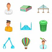 Biggest City Icons Set. Cartoon Set Of 9 Biggest City Icons For Web Isolated On White Background poster