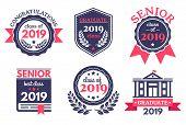 Graduate Senior School Badge. Graduation Day Emblem, Graduates Congratulations Badges And Education  poster