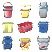 Bucket Types Container Icons Set. Cartoon Illustration Of 9 Bucket Types Container Icons For Web poster