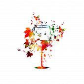 Colorful Wine Glass With Vine Background Vector Illustration. Party Flyer, Wine Tasting Event, Wine  poster