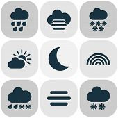 Climate Icons Set With Misty And Cloudy, Fog, Heavy Rain Hail Elements. Isolated  Illustration Clima poster