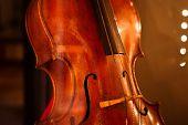 Classic Retro Violoncello Close-up. Cello Classical Music. poster
