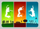 stock photo of person silhouette  - funky active people on colorful grunge background - JPG