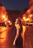 Fashion And Beauty Of Business Lady. Sexy Girl In Elegant Dress. Girl With Glamour Makeup. Luxury Wo poster